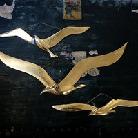 Set of 3 Large Brass Seagulls in Flight Wall Décor Nautical Beach Modern Wall Bird Art