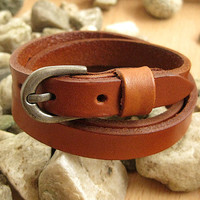 Orange Leather Women Leather Jewelry Bangle Cuff Bracelet Men Leather Bracelet  SL0098-OR