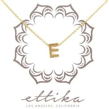Initial E Charm Necklace in Gold