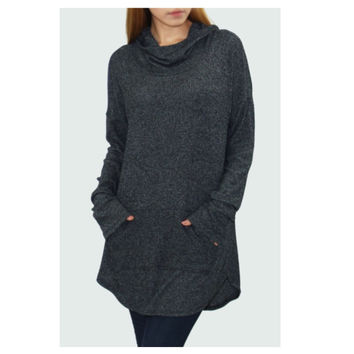 """Casual Me"" Pocket Detail Hooded Sweater Top"