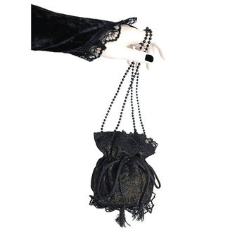 brown and black lace wristlets bag in pompadour, victorian, gothic style for women, evening handbag, drawstring vintage pouch bag purse 0375
