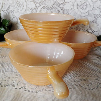 Vintage Anchor Hocking Fire King Peach Luster Soup Bowl Set of 4