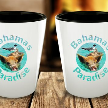 Bahamas Shot Glass - Funny Bird Nesting on Pig - Cute Gift - Perfect Gift For Birthday, Christmass, Men, Women, Friend, Ideal For Kitchen.
