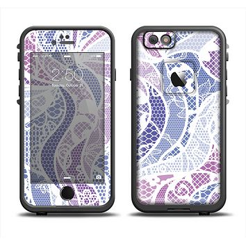 The Purple and White Lace Design Apple iPhone 6 LifeProof Fre Case Skin Set
