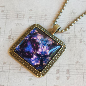 "Blue & Purple Flowers Abstract Square Glass Cabochon Antiqued Brass Geometric Pendant Necklace 27"" Ball Chain #PTTN-10"