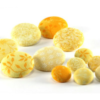 Fabric Buttons - Morning Sun Yellow Mix - 12 Medium and Small Gold, Lemon, Corn, Banana Yellow and Orange Fabric Covered Buttons