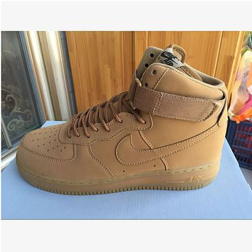 NIKE Women Men Running Sport Casual Shoes Sneakers Air force high tops Brown