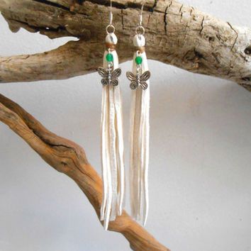 White Leather Fringe Earrings, Tassel Earrings, Silver Butterfly, Green Emerald Gemstone, Handmade Leather Jewelry, Boho, Tribal, Hippie