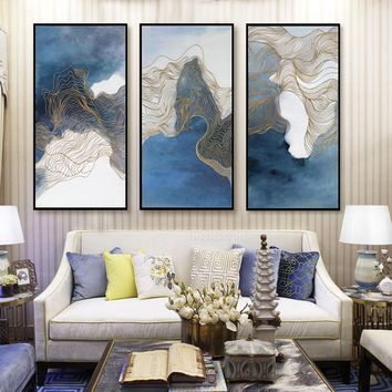 high quality Canvas Wall Art Printed Poster Scandinavian Modern Minimalist Mood Woods Elk Picture Living Room Triptych Decor