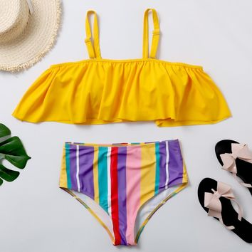 Plus Size Swimwear Rainbow Stripes Ruffle Bikini Set