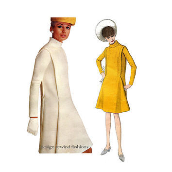 60s VOGUE DRESS PATTERN Pierre Cardin Designer Futuristic Mod Dress Vogue 1694 Paris Original Womens Sewing Patterns Bust 36 UNCuT +Label