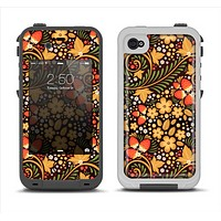 The Colorful Floral Pattern with Strawberries Apple iPhone 4-4s LifeProof Fre Case Skin Set