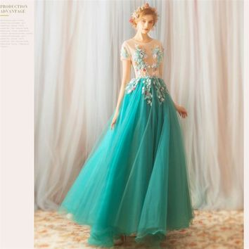 Green Evening Dresses O-neck Short Sleeves Embroidery Party Formal Dress A-line Floor-length Flowers