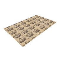 "Suzanne Carter ""Crowns"" Brown Tan Woven Area Rug"