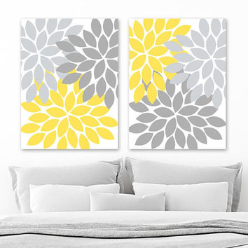YELLOW GRAY Flower WALL Art, Flower Canvas or Prints, Yellow Gray Floral Bathroom Decor, Bedroom Wall Decor, Yellow Gray Nursery, Set of 2