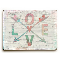 Love Arrows by Artist Misty Diller Wood Sign