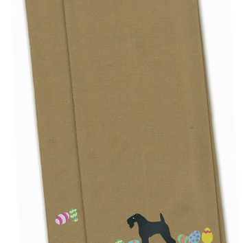 Kerry Blue Terrier Easter Tan Embroidered Kitchen Towel Set of 2 CK1659TNTWE