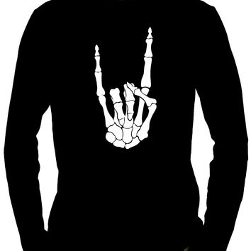 Horns Up Skeleton Hand Metal Sign Long Sleeve Shirt Occult Alternative Clothing