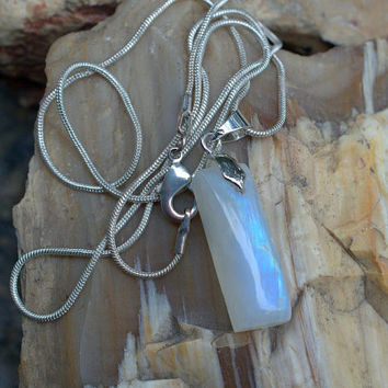 Moonstone pendant free form shape blue flash stone with silver plated bail and necklace
