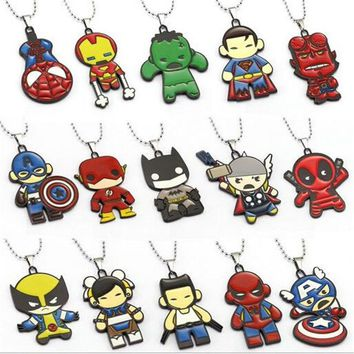 Deadpool Dead pool Taco Avengers Necklaces Thor Captain America Hulk Spider Man  Batman Pendant Necklace Friendship Accessories AT_70_6