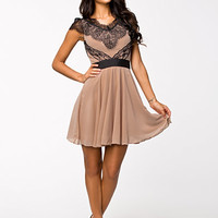 EYELASH LACE SHOULDER SKATER DRESS