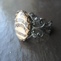 Antique Ouija Board Ring - Silver