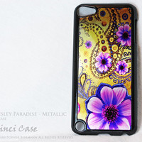 Metallic Floral iPod 5 Touch Case - Golden Paisley Paradise  - Purple & Gold iPod Case