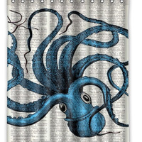 "60"" x 72"" Octopus Steampunk Shower Curtain"