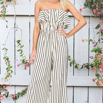 Stripes On Strapless Ruffled Jumpsuit {Cream Mix}