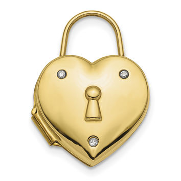 14k Polished Diamond Heart Lock Locket XL715
