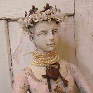 French Santos doll bust statue arms only handmade crown shabby chic distressed light robin pink home decor anita spero