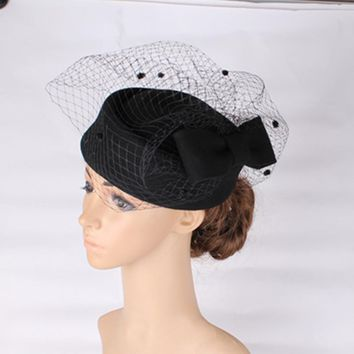 Fashion black 100% wool fascinators high quality bow hat base with dot veil cocktail hats bridal veils occasion hair accessoires