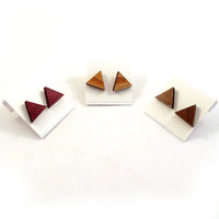 Sustainable Wooden Post Earrings  Triangles Simple by KCsGlass