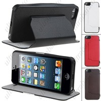Protective Wallet Style PU Leather Case Cover Shell Protector for Apple iPhone 5 from UltraBarato Gadgets