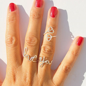 Twisted wire rings letters LOVE YOU Heart Ring (three -piece )