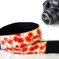 Floral Camera Strap. Flowers Camera Strap. Black Red Camera Strap. Dslr Camera Strap.  Accessories