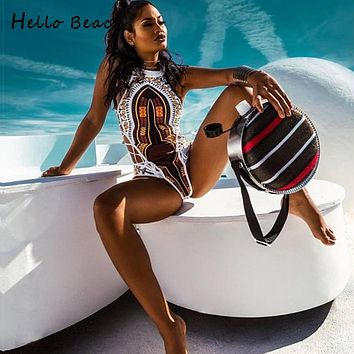 HELLO BEACH 2018 New One Piece Swimsuit Bandage bodysuit African Printed Swimwear Female High Cut Monokini Sexy High Neck