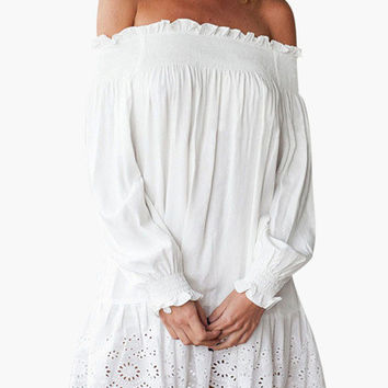 White Off Shoulder Long Sleeve Garter Lace Ruffled Mini Dress