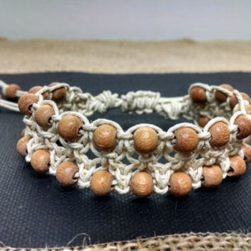 White Beaded Adjustable Macrame Bracelet