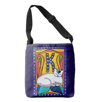 Peace and Love Valentine Cat Art Crossbody Bag