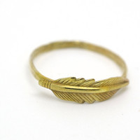 Feather Ring, 14K Gold Fill Ring, Feather Jewelry