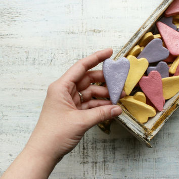 Pastel wedding favors hearts magnets cottage chic guest favors shabby chic bridal shower pale pink puce mauve lilac thistle yellow