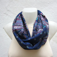 infinity scarf Loop scarf Neckwarmer Necklace scarf Fabric scarf  Dark blue Pink White
