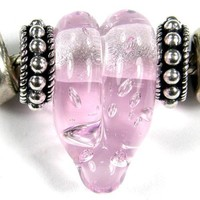 Rose Quartz Pink With Bubbles Large Hole Lampwork Focal Bracelet Bead