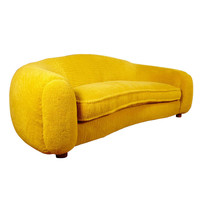 "Jean Royere Exceptionnal Genuine Most Iconic ""Ours Polaire"" Couch in Yellow Wool Faux Fur"