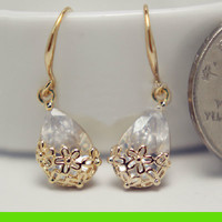 Golden Flower Rim Rhinestone Statement Earrings