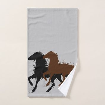 Abstract, Black and Brown Wild Stallions, Custom Bath Towel Set