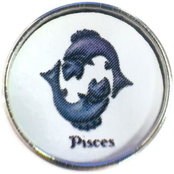 Pisces Two Blue Fish Zodiac Sign Horoscope Symbol 18MM - 20MM Charm for Snap Jewelry New Item