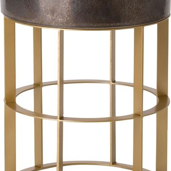 Large Milo Metal Stool/Table Powdercoated Gold With A Gunmetal Ceramic Top