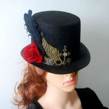 LMFON DIY Gothic Victorian Steampunk Black Top Hat for Male & Female